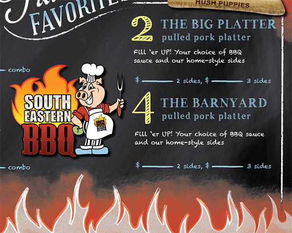 south eastern bbq chalk board